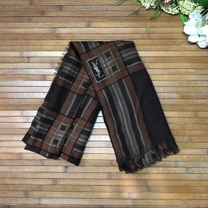 Yves St. Laurent YSL Large Brown Plaid Scarf